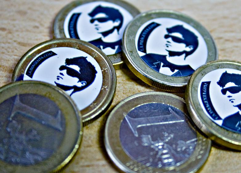 moneda euro pegatina